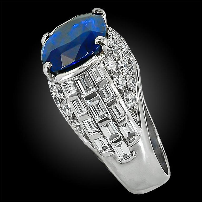 Bulgari Diamond, Oval-Shaped Burma No Heat Sapphire Ring In Good Condition For Sale In New York, NY