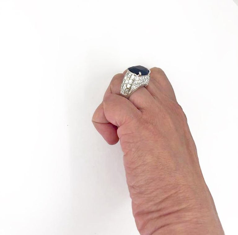 Women's Bulgari Diamond, Oval-Shaped Burma No Heat Sapphire Ring For Sale