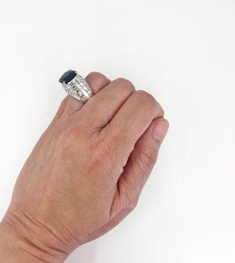 Bulgari Diamond, Oval-Shaped Burma No Heat Sapphire Ring For Sale 1