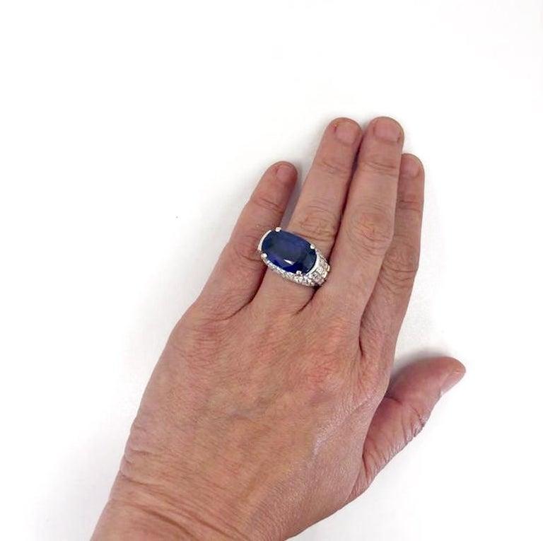 Bulgari Diamond, Oval-Shaped Burma No Heat Sapphire Ring For Sale 2