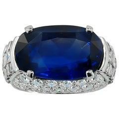 Bulgari Diamond, Oval-Shaped Burma No Heat Sapphire Ring