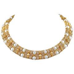 Bulgari Diamond Pearl Necklace