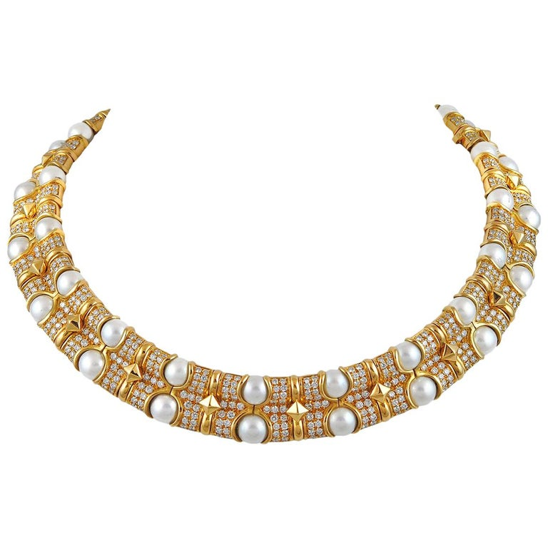 Bulgari Pearl Necklace: Bulgari Diamond Pearl Necklace For Sale At 1stdibs
