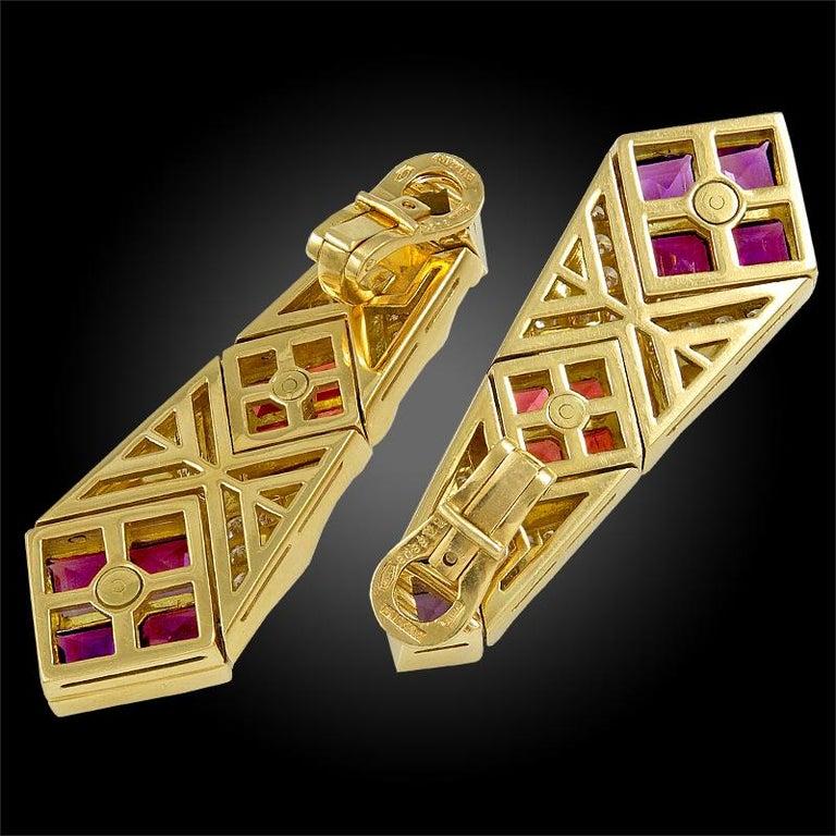 Mixed Cut Bulgari Diamond, Pink Sapphire and Amethyst Earrings For Sale