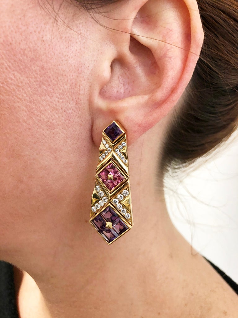 Bulgari Diamond, Pink Sapphire and Amethyst Earrings In Good Condition For Sale In New York, NY