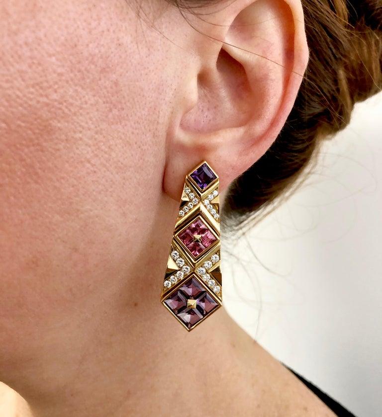 Women's Bulgari Diamond, Pink Sapphire and Amethyst Earrings For Sale