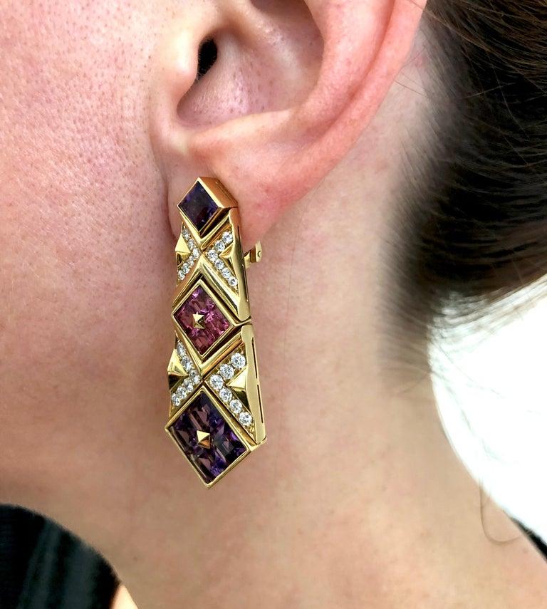 Bulgari Diamond, Pink Sapphire and Amethyst Earrings For Sale 1