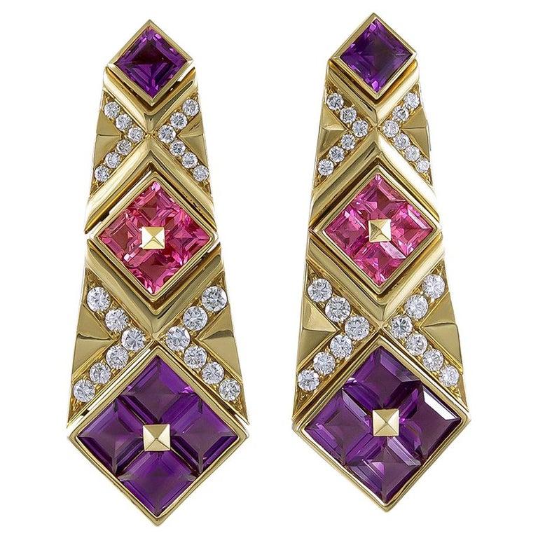 Bulgari Diamond, Pink Sapphire and Amethyst Earrings For Sale