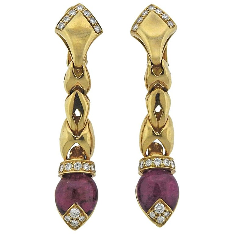 Bulgari Diamond Pink Tourmaline Gold Drop Earrings For Sale