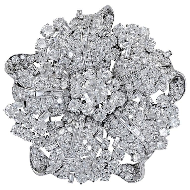 Bulgari Diamond Platinum Brooch For Sale