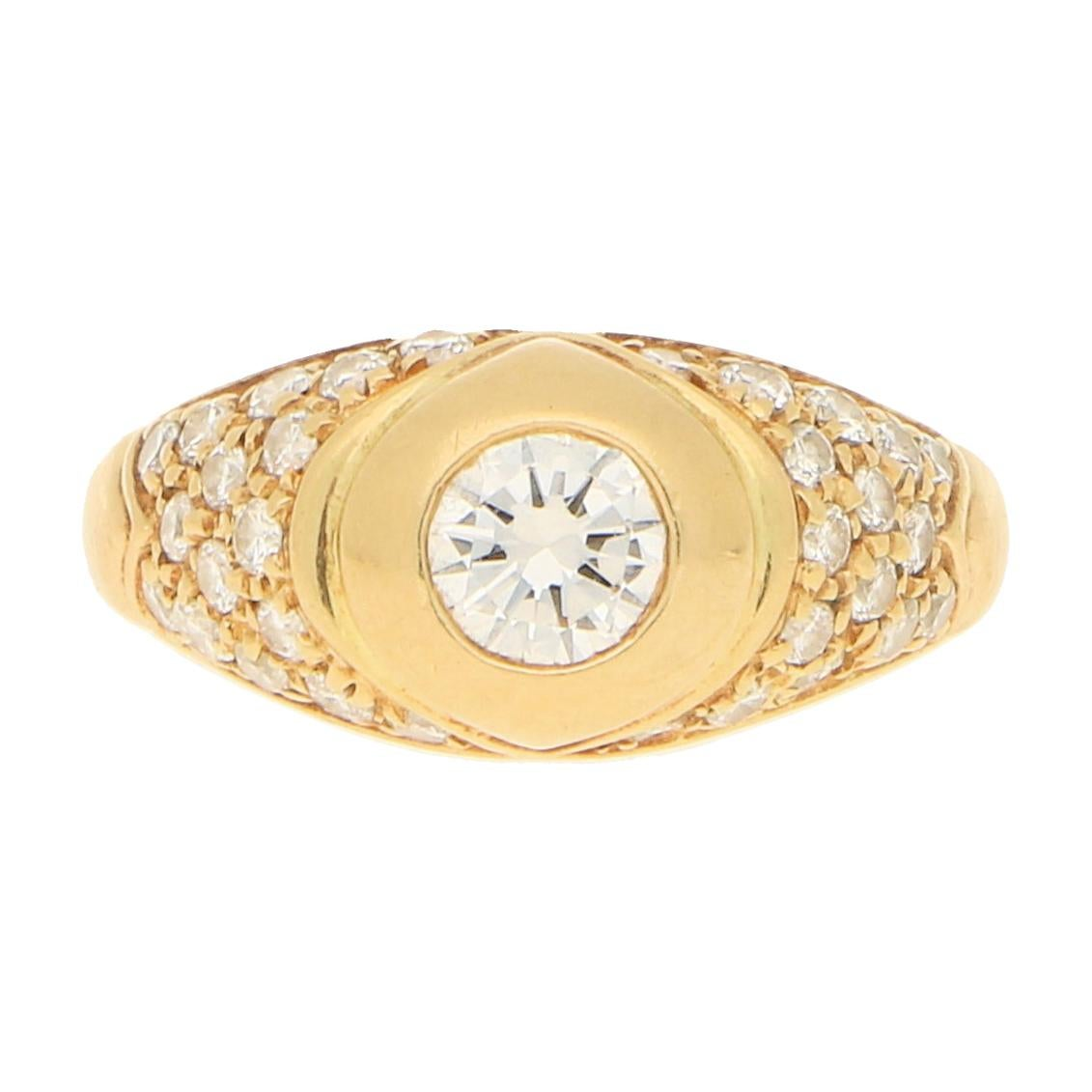 Bvlgari Diamond Engagement/Cocktail Ring in 18k Yellow Gold