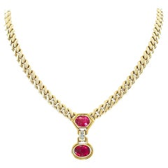 Bulgari Diamond Rubellite Tourmaline Gold Necklace