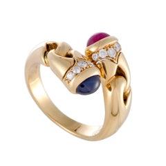 Bulgari Diamond Ruby and Sapphire Bypass Band Ring