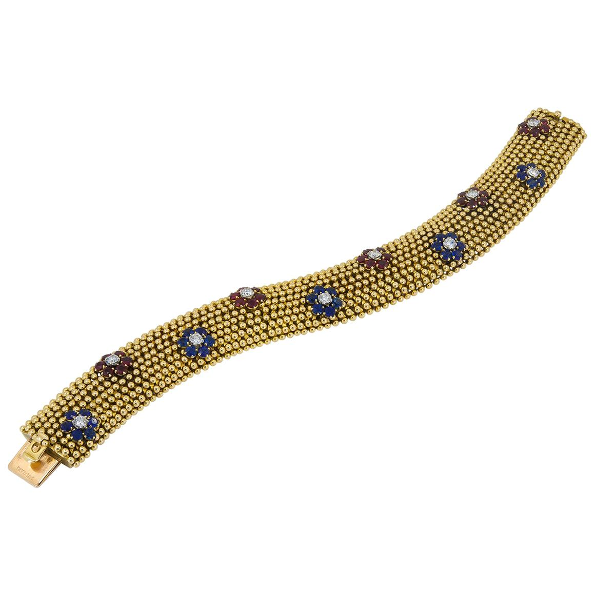 Bulgari Diamond Ruby Sapphire Yellow Gold Bracelet