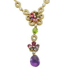 Bulgari Diamond Sapphire Amethyst Yellow Gold Flower Earrings