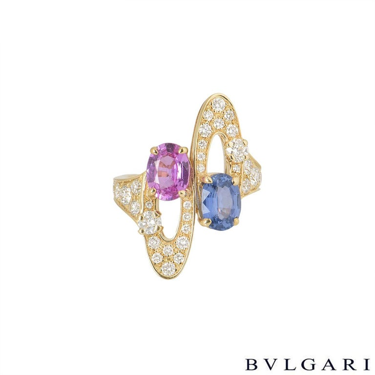 Bulgari Diamond and Sapphire Ring In Excellent Condition For Sale In London, GB