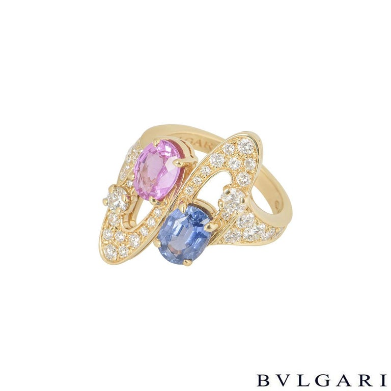 Women's Bulgari Diamond and Sapphire Ring For Sale