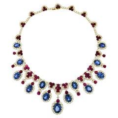 Bulgari Diamond Sapphire Ruby 18 Karat White Gold Fringe Necklace