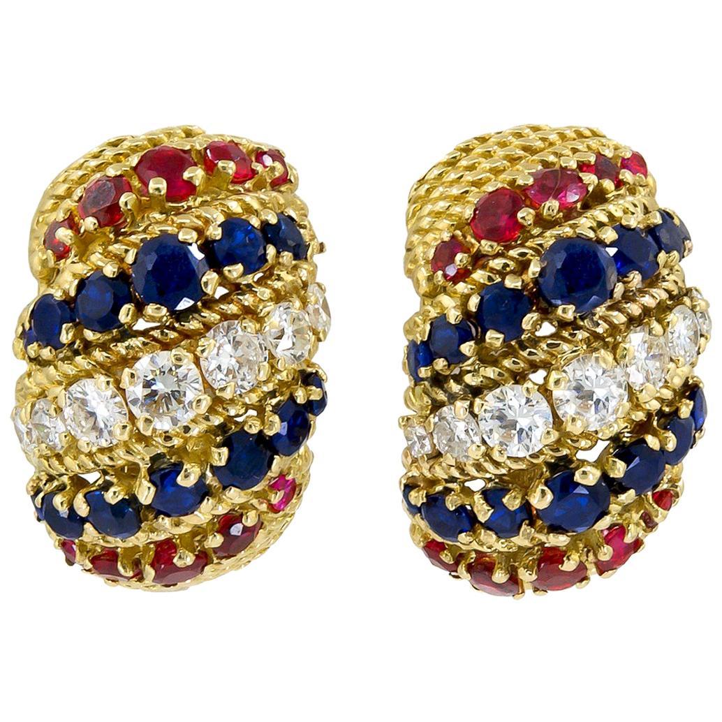Bulgari Diamond Sapphire Ruby Yellow Gold Earrings