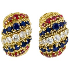 Bulgari Diamond, Sapphire, Ruby Earrings