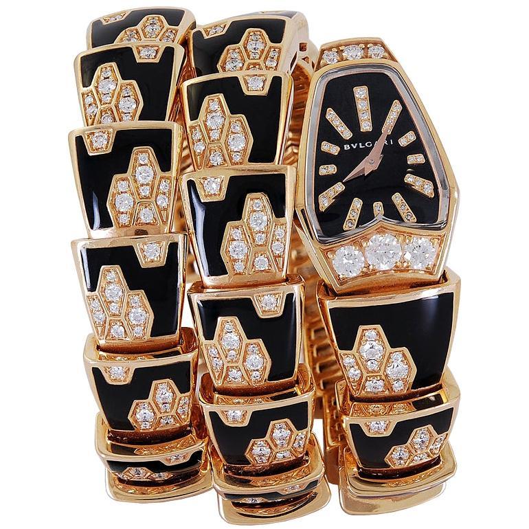 Bulgari Ladies Diamond Enamel Rose Gold Serpenti Scagile Quartz Wristwatch