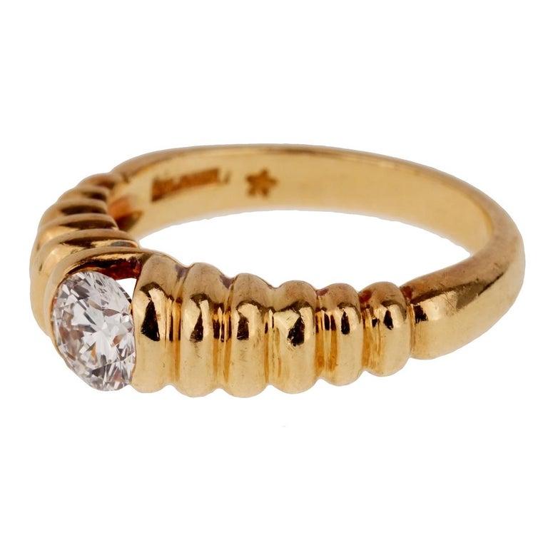 Women's Bulgari Diamond Solitaire Gold Ring For Sale