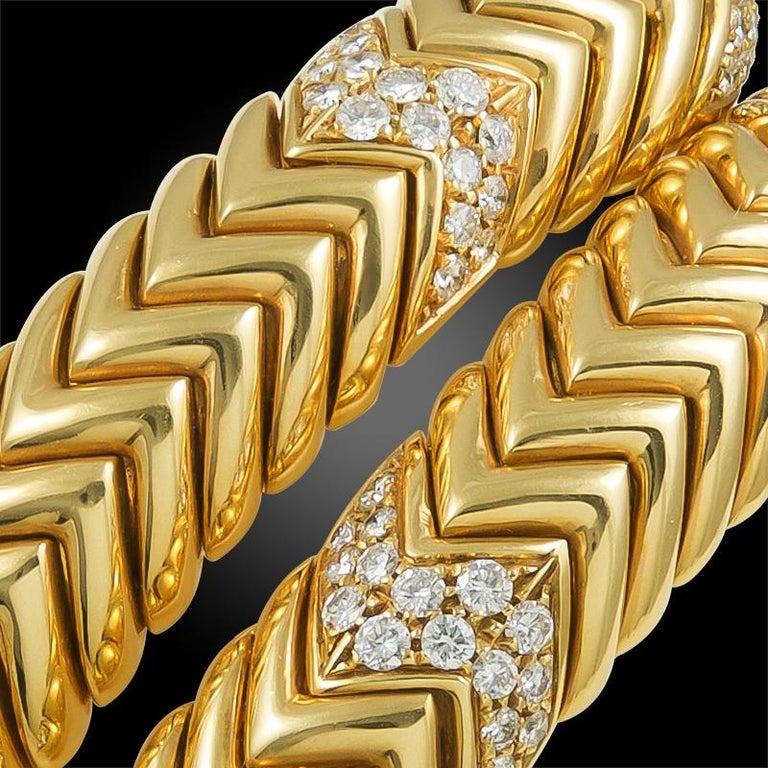 Bulgari Diamond Spiga Bracelet In Good Condition For Sale In New York, NY