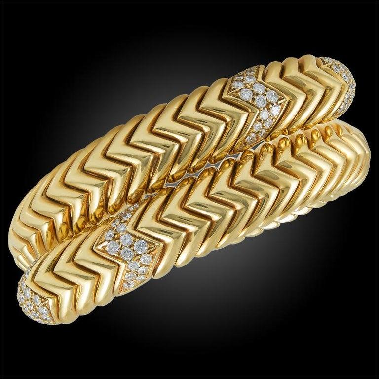 Women's or Men's Bulgari Diamond Spiga Bracelet For Sale