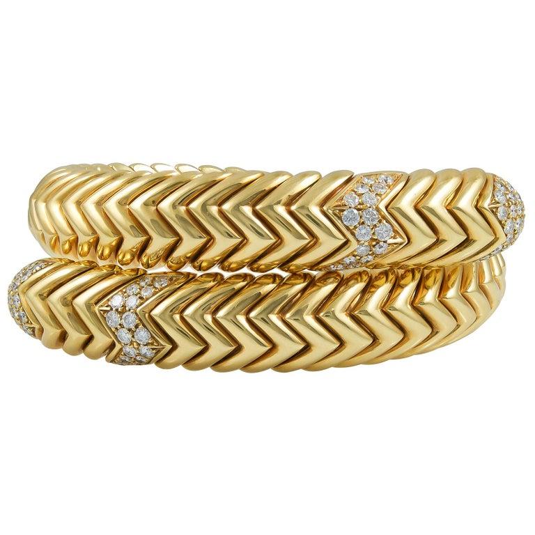 Bulgari Diamond Spiga Bracelet For Sale