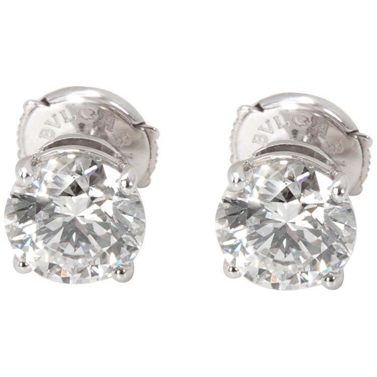 Bulgari Diamond Stud Earrings in 18 Karat Gold GIA Certified H/VVS1 3.02 Carat For Sale