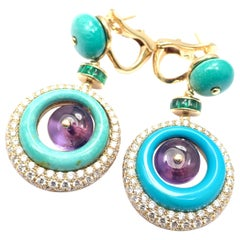 Bulgari Diamond Turquoise Amethyst Tourmaline Yellow Gold Drop Earrings