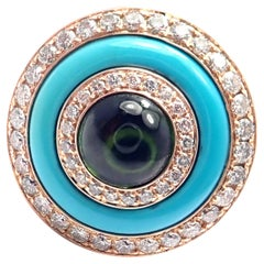 Bulgari Diamond Turquoise Green Tourmaline Rose Gold Ring