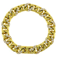 Bulgari Diamond Yellow Gold Link Bracelet 1980s Bvlgari