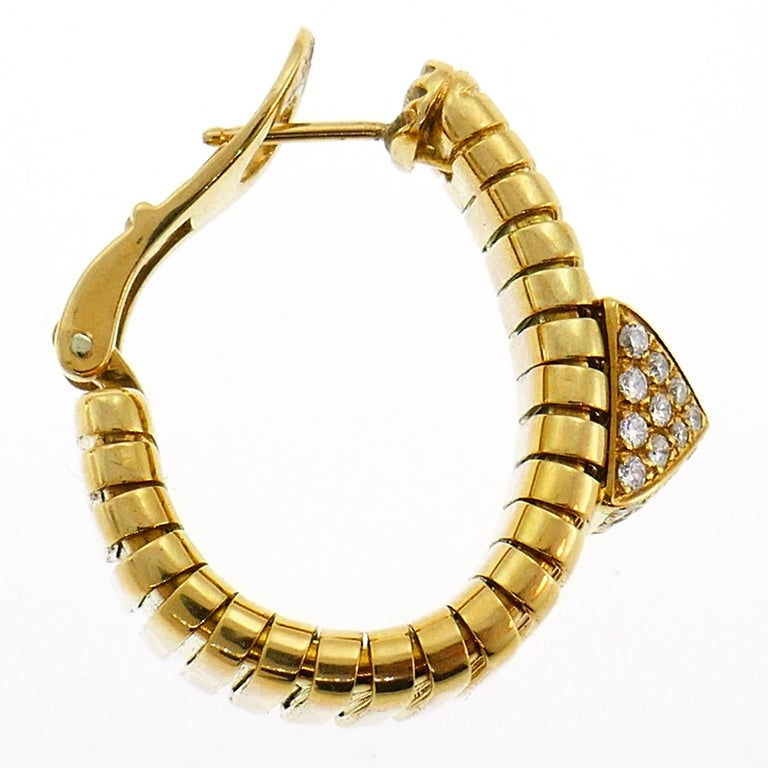 Bulgari Diamond Yellow Gold Tubogas Hoop Earrings Bvlgari, 1980s In Good Condition In Beverly Hills, CA