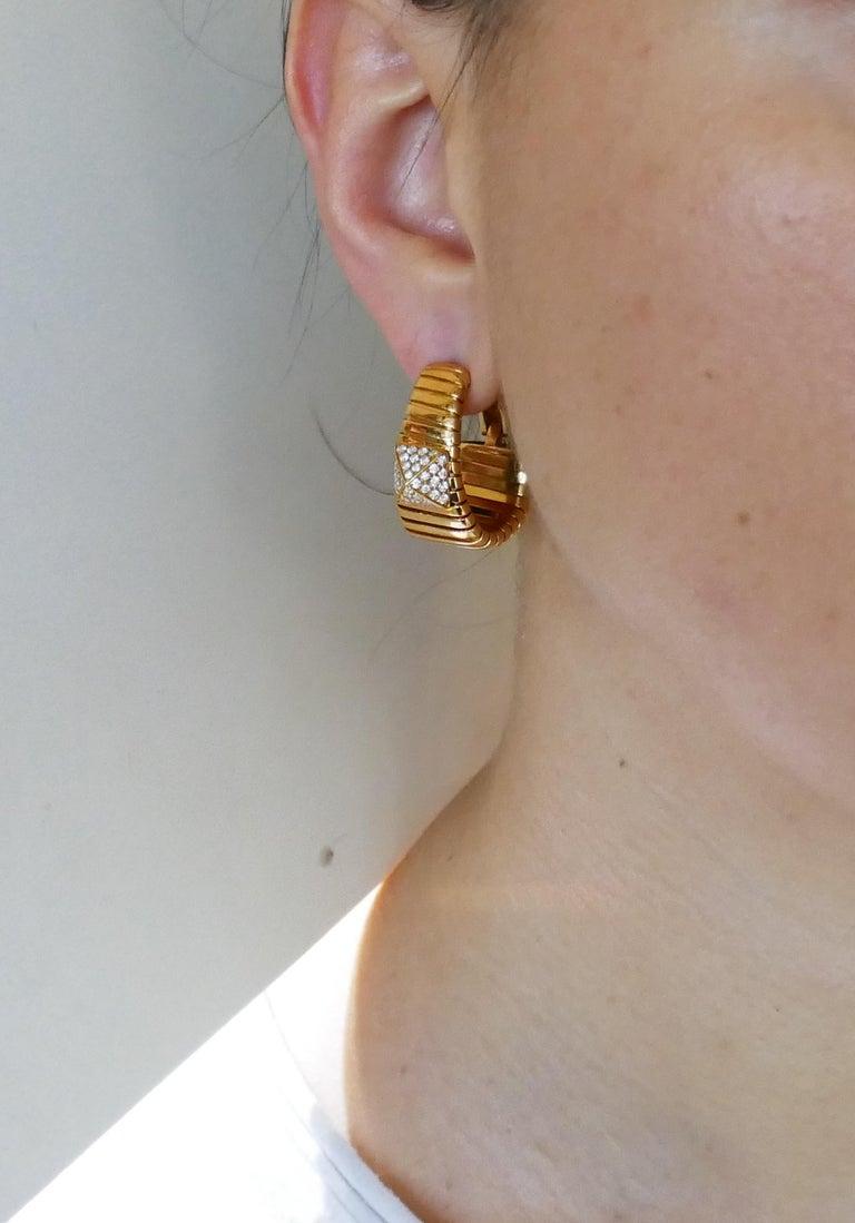 Bulgari Diamond Yellow Gold Tubogas Hoop Earrings Bvlgari, 1980s 1