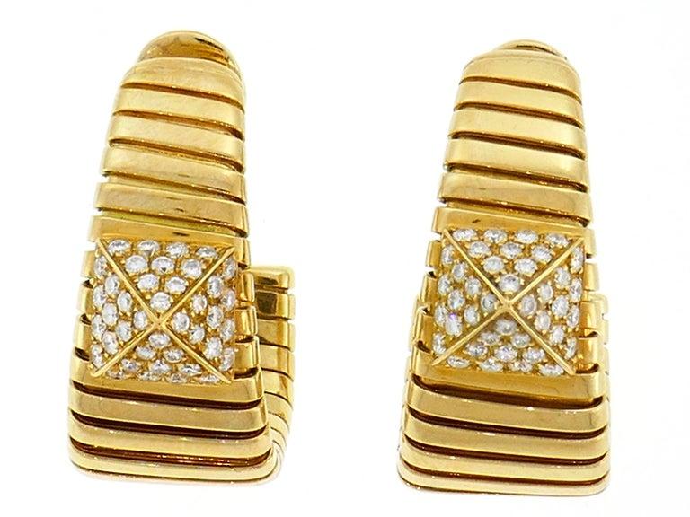 Bulgari Diamond Yellow Gold Tubogas Hoop Earrings Bvlgari, 1980s 3