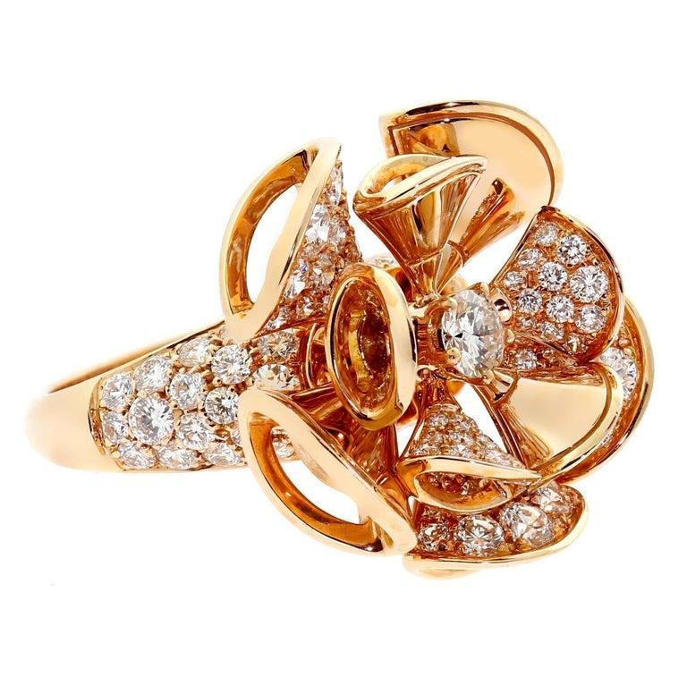 Round Cut Bulgari Diva Diamond Gold Ring For Sale