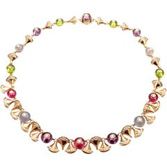 Bulgari Diva Dream Diamond Amethyst Rubellite Peridot Rose Gold Necklace