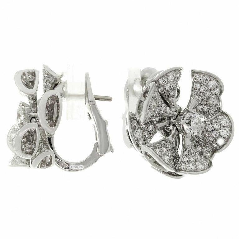 Women's or Men's Bulgari Divas' Dream Diamond White Gold Flower Earrings For Sale