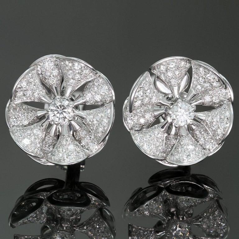 Bulgari Divas' Dream Diamond White Gold Flower Earrings For Sale 3