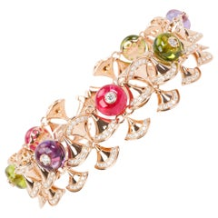 Bulgari Diva's Dream Diamonds, Peridot, Amethyst Bracelet in 18K Gold 5.89 Carat