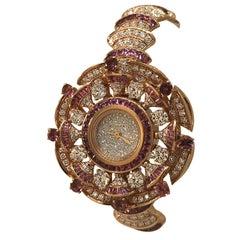 Bulgari Diva's Dream Rose Gold Diamonds and Rubellites Bracelet Ladies Watch