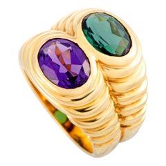 Bulgari Doppio Amethyst and Tourmaline Yellow Gold Ring