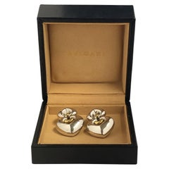 Bulgari Doppio Collection White and Yellow Gold Heart Earrings
