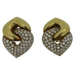 "Bulgari ""Doppio Cuore"" Diamond and 18 Carat Yellow Gold Ear Clip Earrings"