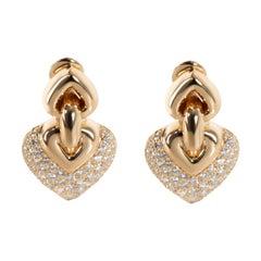 Bulgari Doppio Cuore Diamond Earrings in 18 Karat Yellow Gold 3.00 Carat