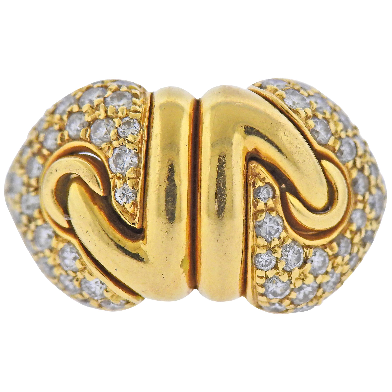 Bulgari Doppio Cuore Diamond Gold Ring