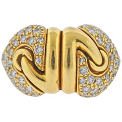 Bulgari Doppio Cuore Diamond Gold Ring