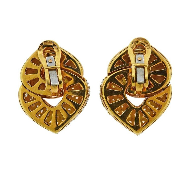 Bulgari Doppio Cuore Gold Diamond Earrings In Excellent Condition In Lahaska, PA