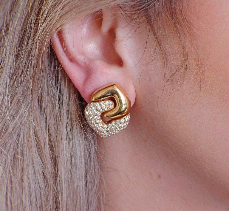 Bulgari Doppio Cuore Gold Diamond Earrings 1